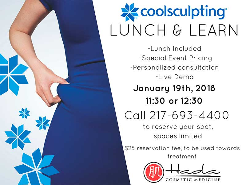 January 19, 2018 at 11:30 am or 12:30 pm. Lunch included. Special event pricing. Personalized consultation. Live demo. $25 reservation fee, to be used toward treatment. Call 217-693-4400 to reserve your spot.